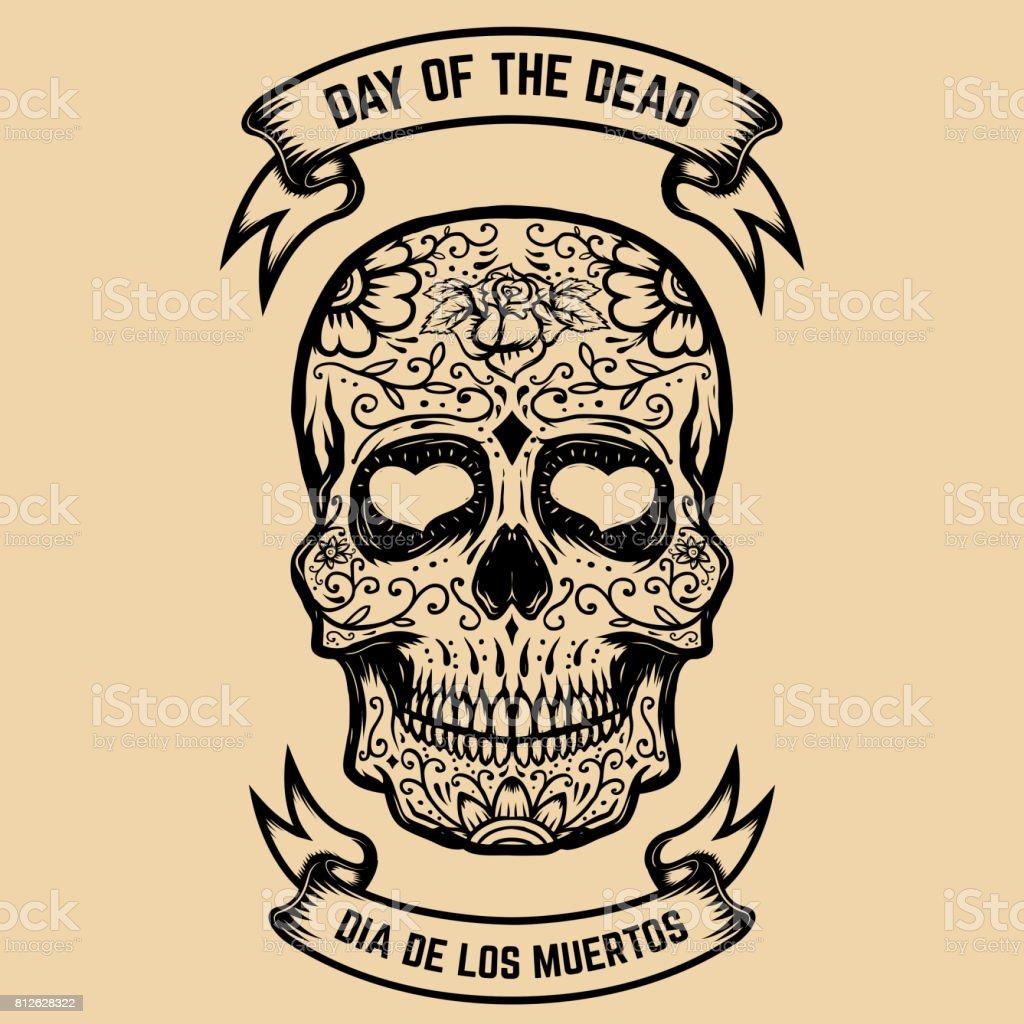 Day of the Dead. Dia de Los Muertos. Zucker-Schädel mit floralem Muster. Gestaltungselement für Poster, Grußkarte. Vektor-illustration – Vektorgrafik