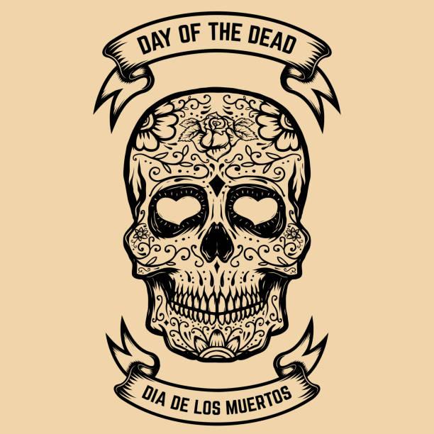 day of the dead. dia de los muertos. zucker-schädel mit floralem muster. gestaltungselement für poster, grußkarte. vektor-illustration - totenkopf tattoos stock-grafiken, -clipart, -cartoons und -symbole