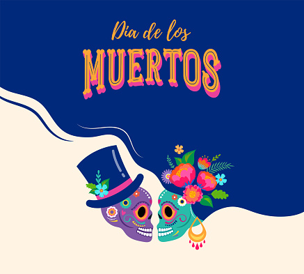 Day of the dead, Dia de los muertos with in love couple, Mexican wedding concept, woman and man skulls , banner with colorful Mexican flowers. Fiesta, Halloween holiday poster, party flyer, funny greeting card