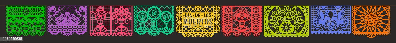 Vector horizontal banner with traditional Mexican paper cutting flags. Isolated on black background.