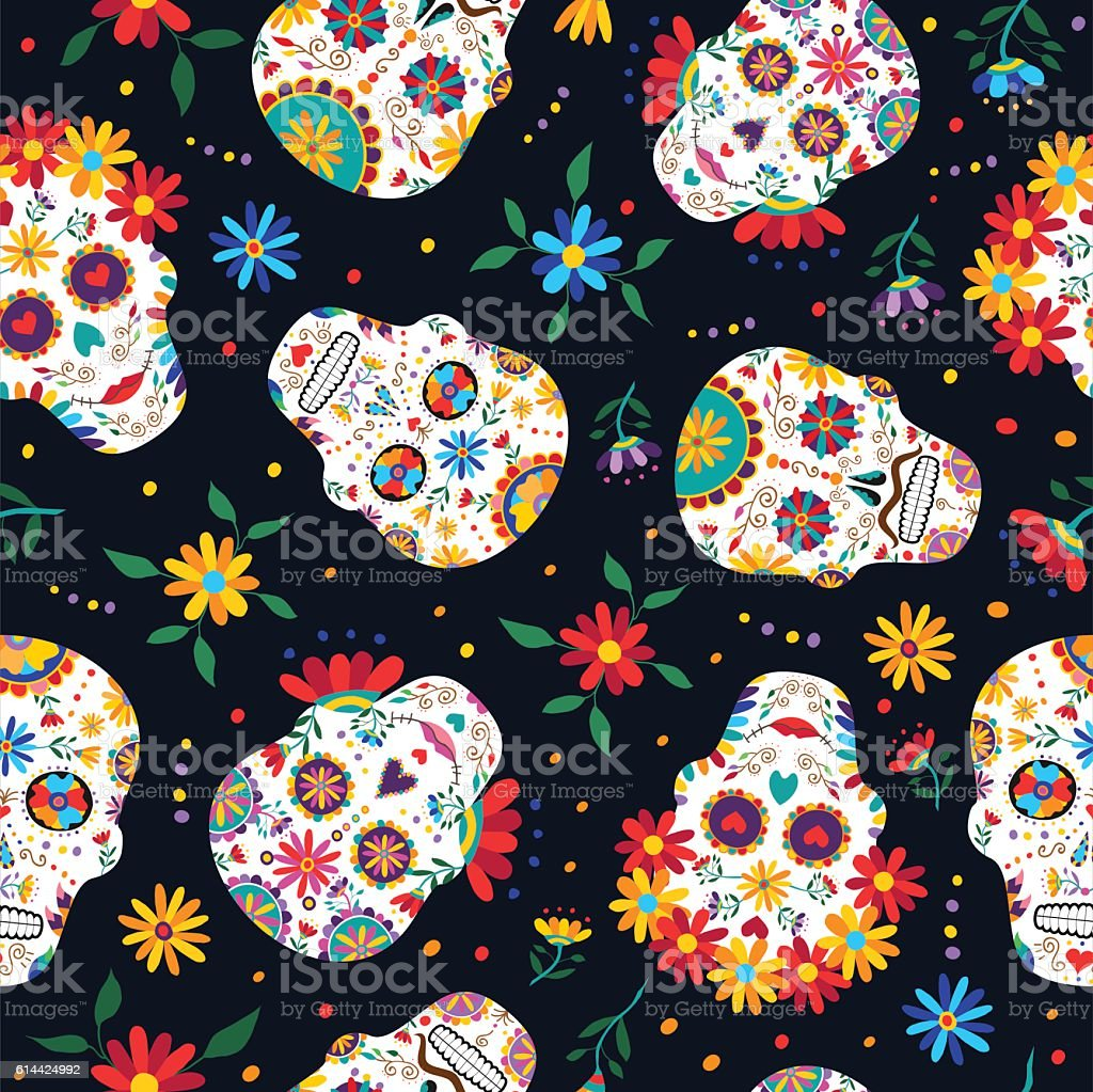 Day Of The Dead Floral Skull Pattern Background Royalty Free