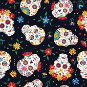 Day of the dead floral skull pattern background