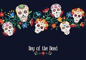 Day of the dead flower skull background design