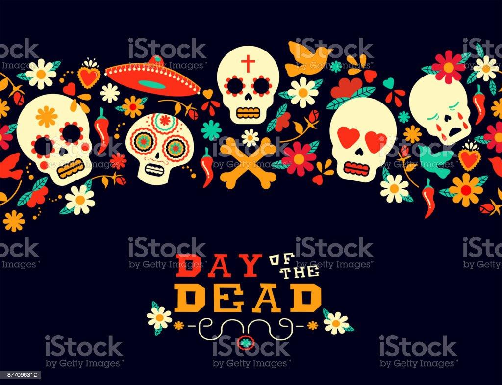 Tag der Toten Blume Zucker Schädel Hintergrund – Vektorgrafik