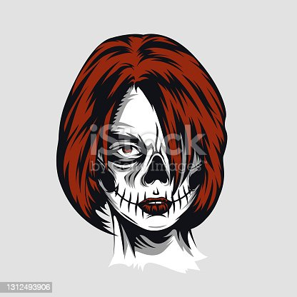 istock Day of the dead girl Design Template. Makeup for Halloween. Tattoo Icon Line Art Vector 1312493906