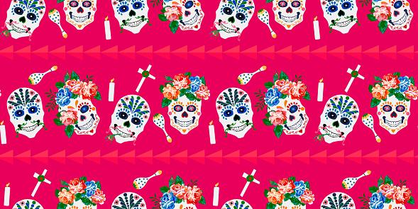 Day of the dead, Halloween, Dia de los muertos print background, seamless pattern design