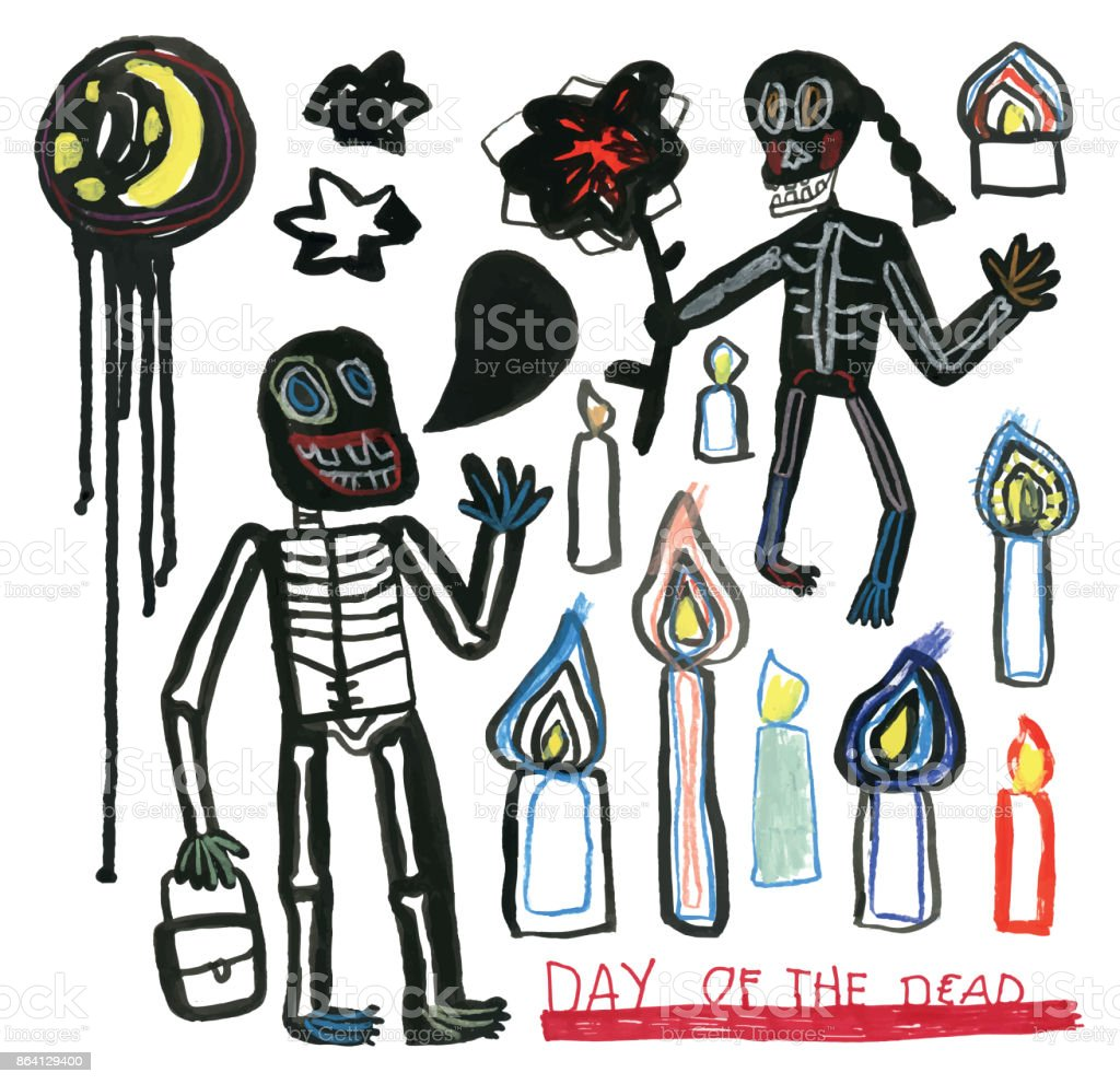 Day of the dead hand drawn set of skeletons, moon, stars and candles royalty-free day of the dead hand drawn set of skeletons moon stars and candles stock vector art & more images of adult
