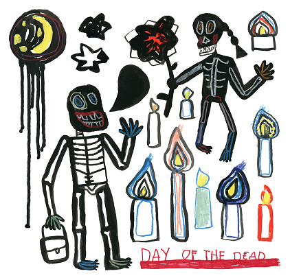 Day of the dead hand drawn set of skeletons, moon, stars and candles