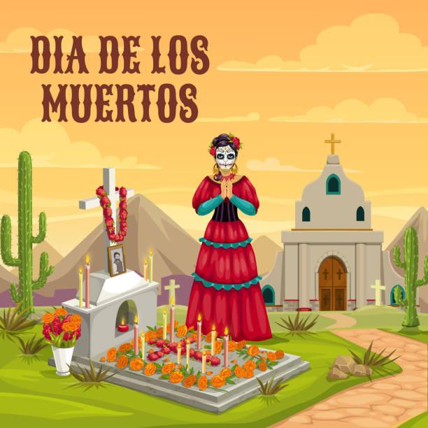 bildbanksillustrationer, clip art samt tecknat material och ikoner med dag av de döda mexikanska döda semester tradition - ljus på grav