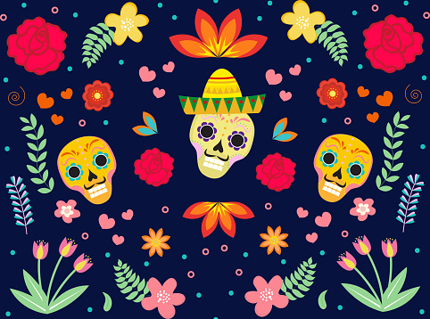 Day of the Dead Mexican seamless pattern. Dia de los muertos repeating texture. sugar skull, skeleton, flowers endless background. Vector illustration
