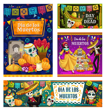 Day of the Dead Mexican sugar skulls, skeletons