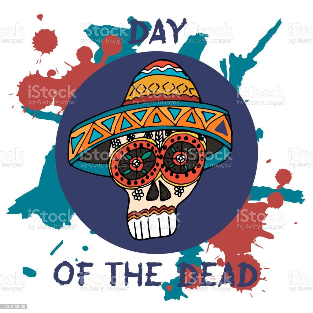 Day Of The Dead Mexican Traditional Festival Dia De Los Muertos Hand Drawn Skulls