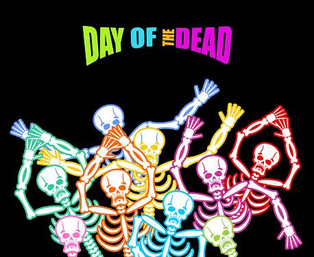 Day of the Dead Multicolored skeleton. color Skull. Dead backgro