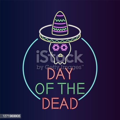 istock Day of the Dead Neon Banner vector illustration 1271969905