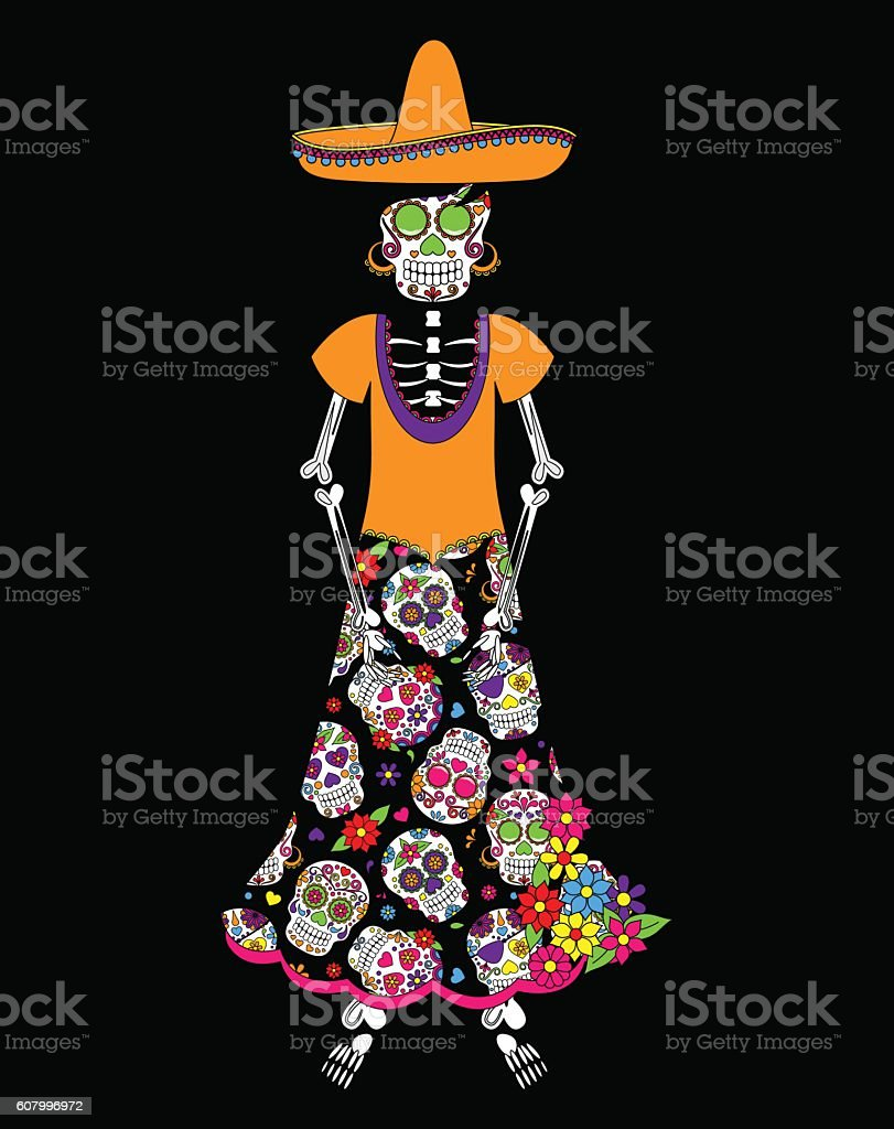 Day Of The Dead Or Halloween Skeleton Woman Stock Vektor Art Und