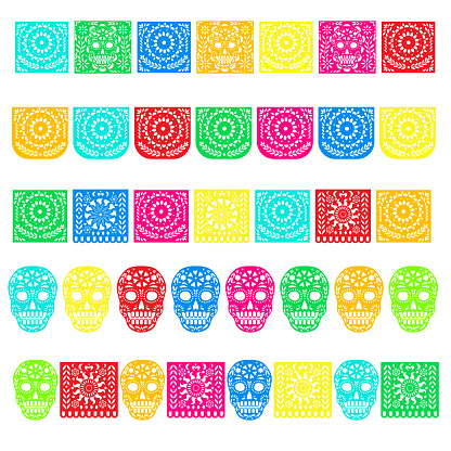 Day of the Dead. Papel Picado banners with paper flags