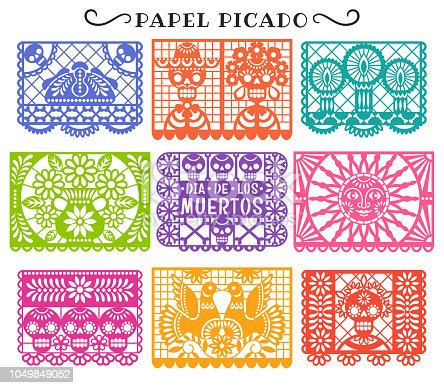 Vector collection of traditional Mexican paper cutting templates. Isolated on white.