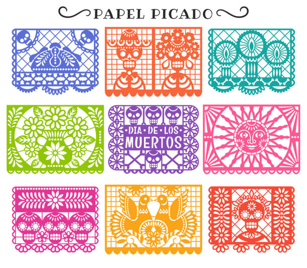 Day of the Dead. Papel Picado. Vector collection of traditional Mexican paper cutting templates. Isolated on white. bread backgrounds stock illustrations