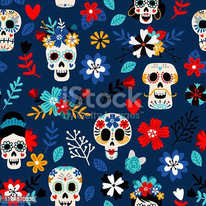 Day of the dead pattern. Dia de los muertos mexican festival seamless color pattern with dead colors sugar skulls, flowers and hearts decoration colorful vector background