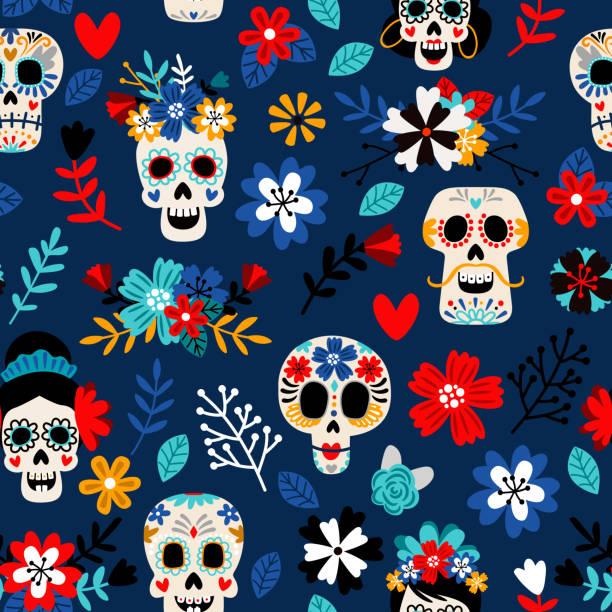 Day of the dead pattern vector art illustration