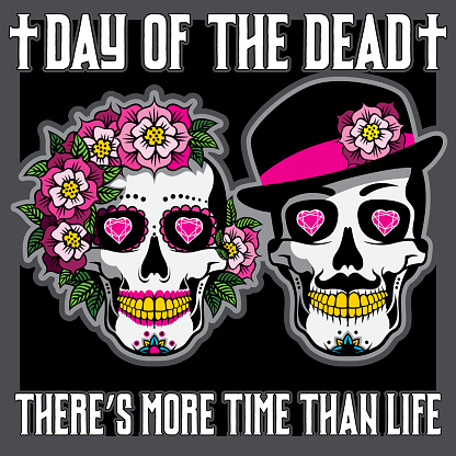 Day of the Dead Placard with female and male skulls