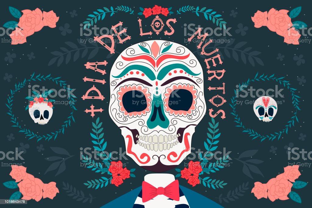 Day Of The Dead Poster With Skeleton Mexican Traditional Holiday Wording Translation