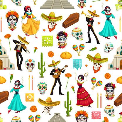 Day of the Dead seamles pattern of skeleton skulls