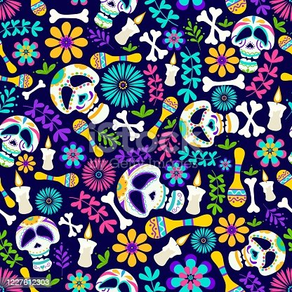 istock Day of the dead seamless pattern with candles, flowers, skeleton etc. Cheerful dia de los muertos card in cartoon style. Mexican holiday Day of the dead sugar skull pattern. Traditional mexican vector illustration 1227612303