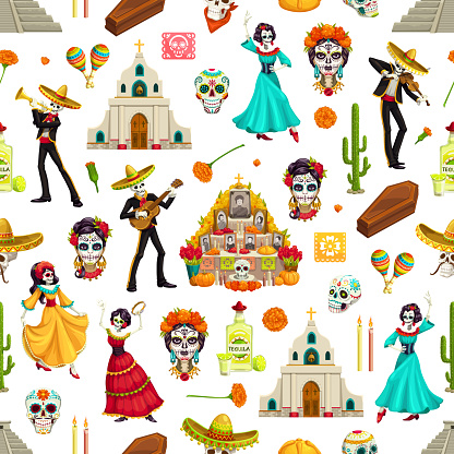 Day of the Dead seamless pattern with sugar skulls