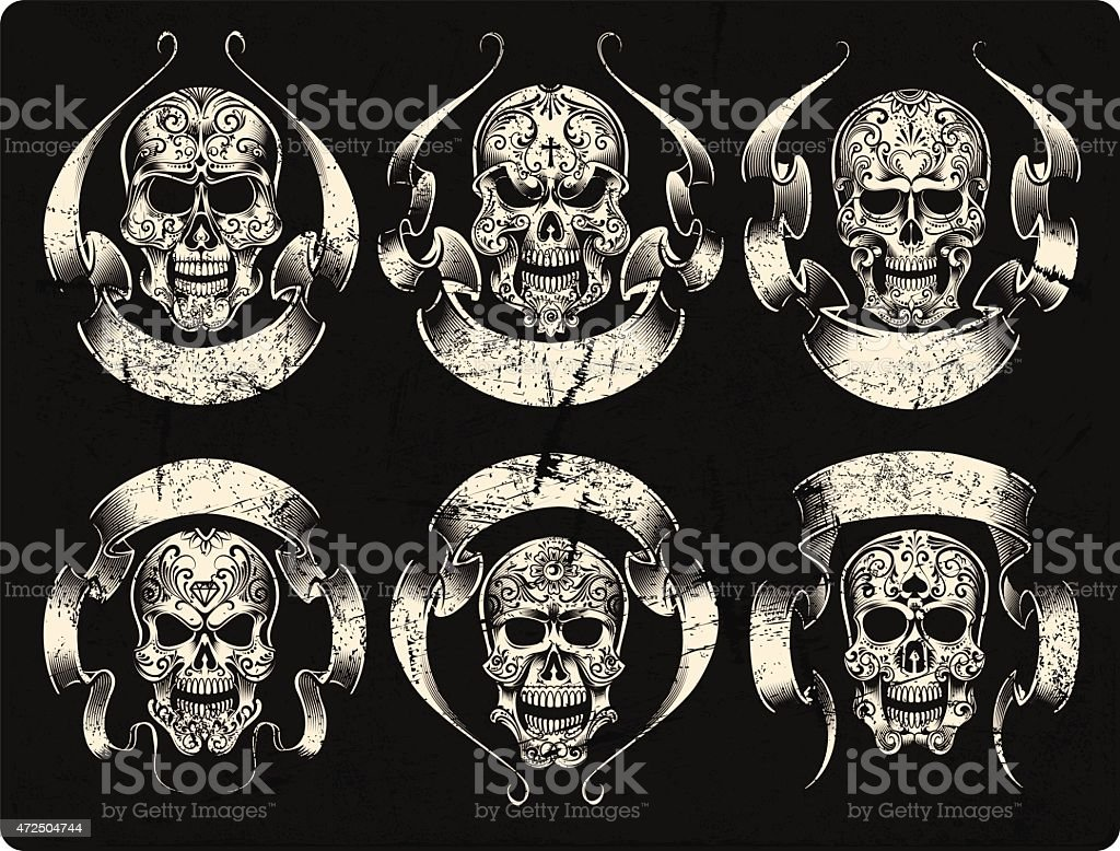 Day Of The Dead Skull Set Royalty Free Stock