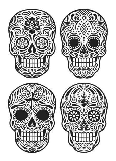 ilustraciones, imágenes clip art, dibujos animados e iconos de stock de día del cráneo muerto vector ilustración conjunto en blanco y negro - tatuajes de calaveras