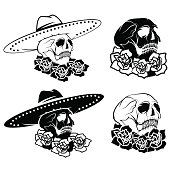 Day of The Dead Skull with flowers and sombrero