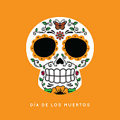 istock Day of the Dead Skull with Monarch butterfly 1051032066
