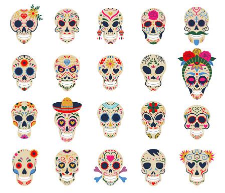 Day of the dead skulls. Dia de los muertos traditional mexican sugar human head bones vector symbols set. Dead day skulls with flowers decoration