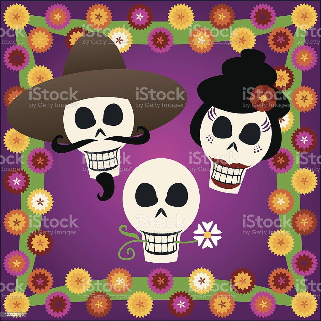 Day of the Dead Skulls vector art illustration