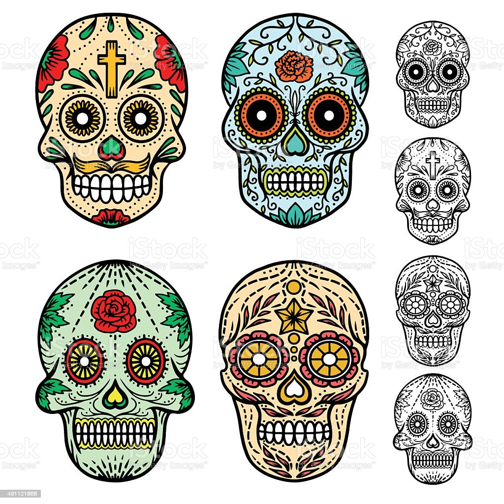 Day of the dead skulls vector art illustration