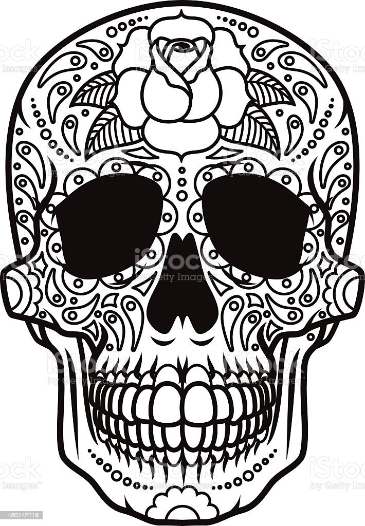 Day of the Dead Sugar Skull Icon Calavera vector art illustration