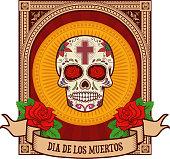 day of the dead. Sugar skull in vintage frame.