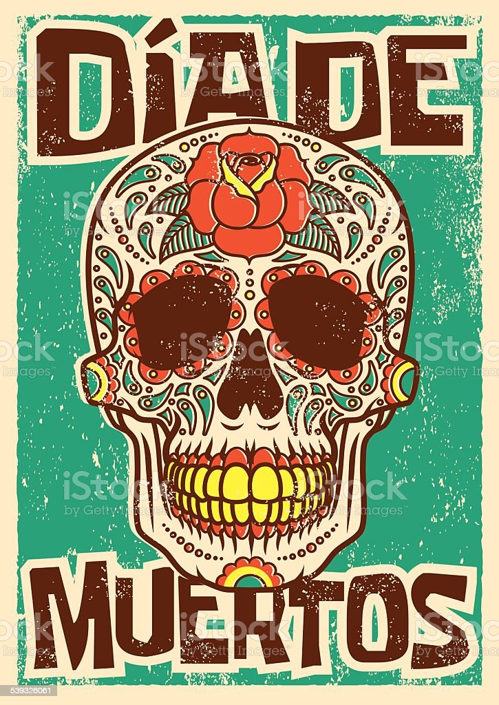 Day of the Dead Sugar Skull Screen Printed Poster Design vector art illustration