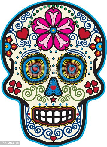 Vector illustration of a sugar skull for a Day of the Dead celebration.