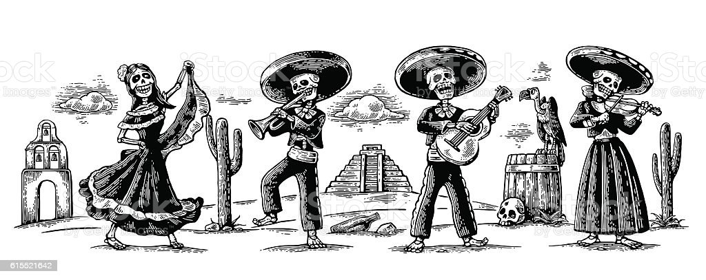 Day of the Dead. The skeleton dance, play and song vector art illustration