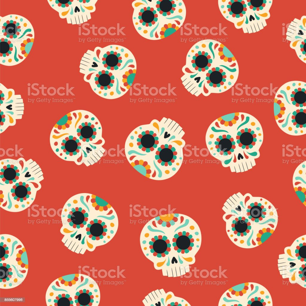 Day Of The Dead Traditional Sugar Skull Pattern Royalty Free