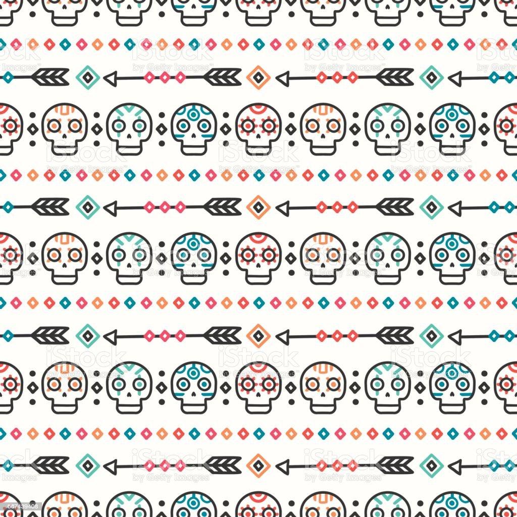 Ilustración de Día De Los Muertos Tribal De La Mano Dibujada Línea ...