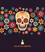 Day of The Dead vector poster with smiling sugar festive skull, surrounded by colorful flowers, isolated on dark background.