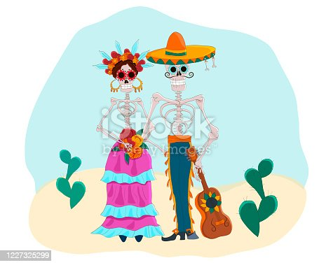 istock Day of the Dead vector illustration. Cartoon mexican characters, senor and senorita. 1227325299