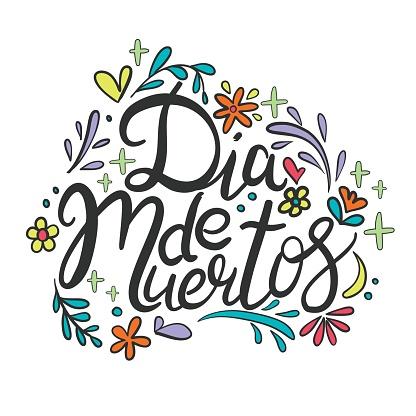 Day of the dead vector illustration set. Hand sketched lettering 'Dia de los Muertos' for postcard or celebration design.