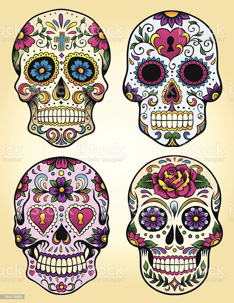 Day of the dead vector illustration set vector art illustration