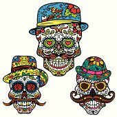 Day of the dead vector set - Hipster Sugar Skulls