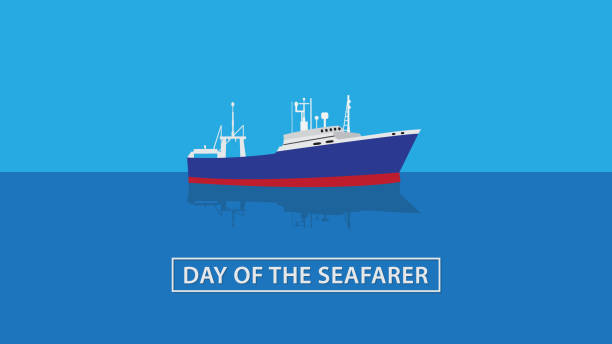 denizci günü. vektör çizimi - columbus day stock illustrations