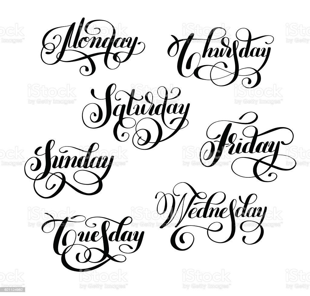 day of the week handwritten black ink calligraphy vector art illustration